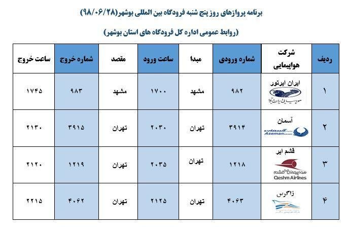 پرواز های فرودگاه بوشهر در 28 شهریور 98