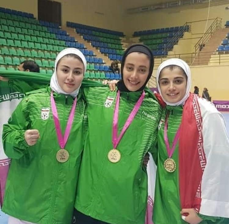 عنوان قهرمانی دختران ایرانی با دروازبان فارسی در جام کافا