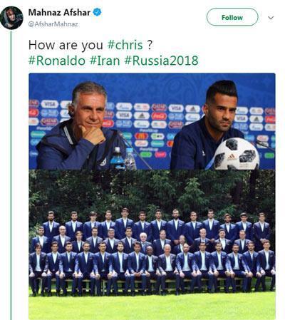 شوخی توئیتری مهناز افشار با چطوری کریس بیرانوند